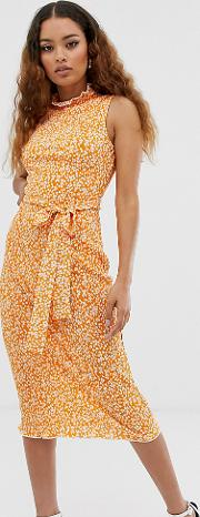 Petite Exclusive Midi Ditsy Print Plisse Dress With Belt