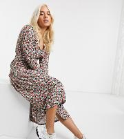 Petite Floral Print Long Sleeve Maxi Tea Dress