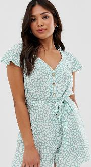 Petite Frill Sleeve Playsuit With Cut Out Back