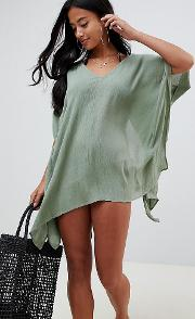 Petite Frill V Plunge Beach Cover Up