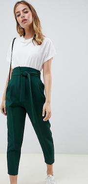 Petite High Waist Balloon Tapered Trousers