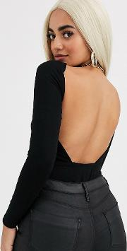 Petite Long Sleeve Backless Bodysuit