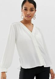 Petite Long Sleeve Blouse With Pocket Detail