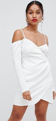 Petite Off Shoulder Mini Dress With Ruched Side