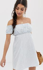 Petite Off Shoulder Mini Sundress With Ruched Bust Stripe