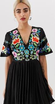 Petite Pleated Embroidered Mini Dress