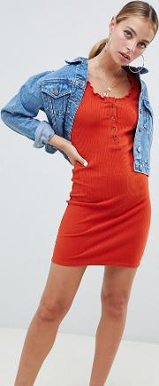 Petite Rib Bodycon Mini Dress With Faux Horn Buttons And Baby Overlock