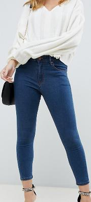 Petite Ridley High Waist Skinny Jeans Rich Mid Wash
