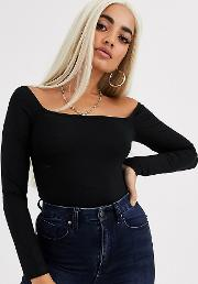 Petite Square Neck Long Sleeve Bodysuit