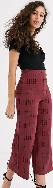 Petite Textured Check Culotte Trouser