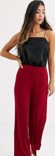 Petite Wide Leg Trousers With Clean High Waist