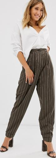 Pinstripe Tapered Dad Trousers