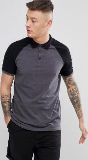 Pique Polo With Contrast Raglan