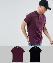 Pique Polo With Tipped Collar 2 Pack Save