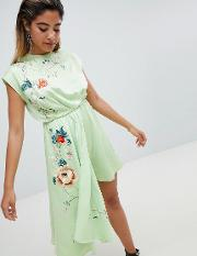 Playsuit With Drape Side And Embroidery