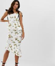 Pleated Bodice Floral Midi Pencil Dress With Belt