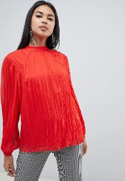 Pleated Long Sleeve Blouse With Tie Back Detail