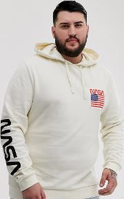 Plus Hoodie With Nasa Back And Sleeve Print Off White