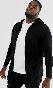 Plus Knitted Hooded Cardigan With Curved Hem