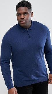 Plus Muscle Fit Knitted Polo