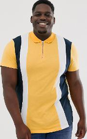 Plus Polo Shirt With Vertical Panels And Zip Neck
