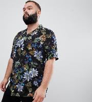 Plus Regular Fit Floral Shirt With Revere Collar