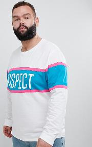 plus relaxed long sleeve t shirt with colour block and suspect text print