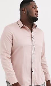 Plus Skinny Fit Sateen Shirt With Piping Dusty