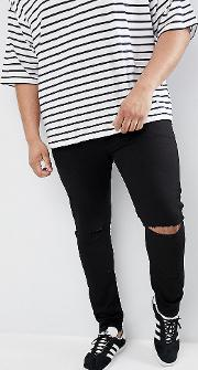 Plus Super Skinny Jeans With Knee Rips