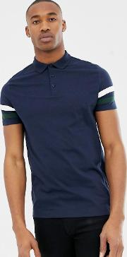 Polo Shirt With Contrast Sleeve Stripe