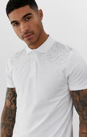 Polo Shirt With Embellishment Shoulder Placement