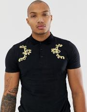 Polo Shirt With Gold Taping