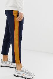 Poly Tricot Tapered Crop Joggers With Side Stripe