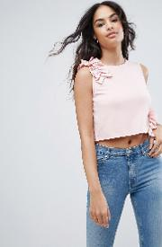 Ponte Top With Ruffles