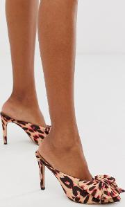 Poppy Pointed High Heel Mules With Bow Pink Leopard