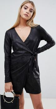Pu Clean Wrap Blazer Dress