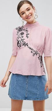 Puff Sleeve Embroidered Blouse