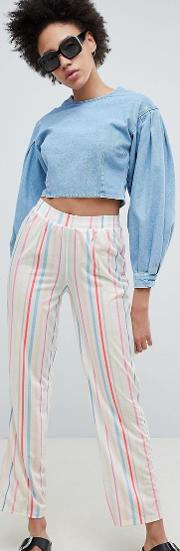 pull on straight leg trousers in candy stripe