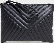 Quilted Zip Top Clutch Bag