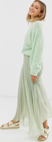 Recycled Polyester Pleated Wrap Maxi Skirt