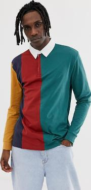 Relaxed Long Sleeve Rugby Polo Shirt With Vertical Colour Block