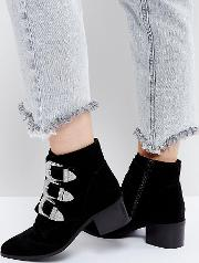 Relieve Wide Fit Suede Buckle Ankle Boots