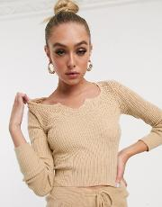 Rib Knit Co Ord Top With Notch Neck Detail