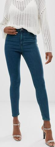 Ridley High Waist Skinny Jeans Mid Wash With Green Tint
