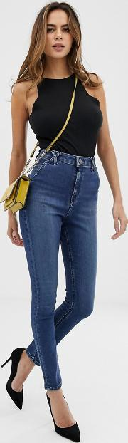 Ridley High Waist Skinny Jeans Mottled Was With Belt Loop Detail
