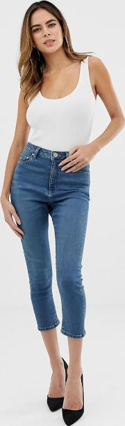 Ridley High Waisted Cropped Skinny Jeans Sea Wash