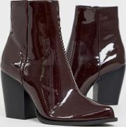 Robin Heeled Ankle Boots Burgundy Patent