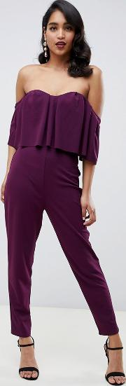 Ruffle Bandeau Crop Top Jumpsuit