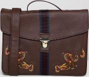 satchel in faux leather  burgundy with internal laptop pouch and dragon embroidery
