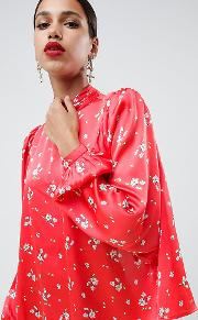 Satin Long Sleeve Blouse With High Neck And Open Back Floral Print